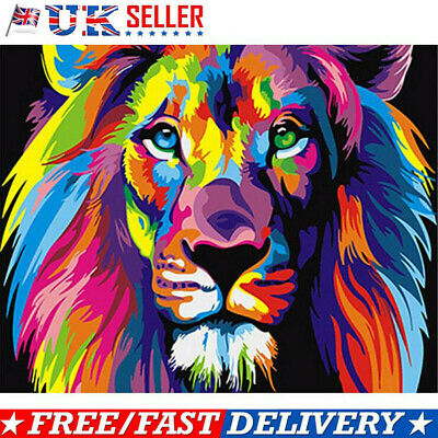 DIY Filling Oil Canvas Paint By Number Kit Multi-Colored Lion Animals Painting K