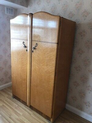 Original Vintage Art Deco Walnut  Large 2 Door Wardrobe