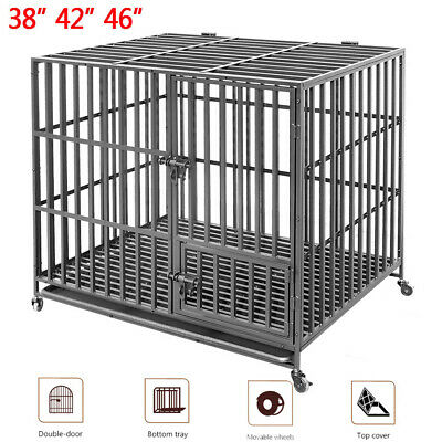 38 42 46in Strong Dog Crate Metal Cage Pet Puppy Cat Rabbit Playpen House Home C