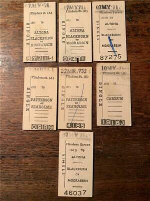 Lot 1970 s  Victorian Railways VR tickets Altona Balckburn Moorabbin Patterson