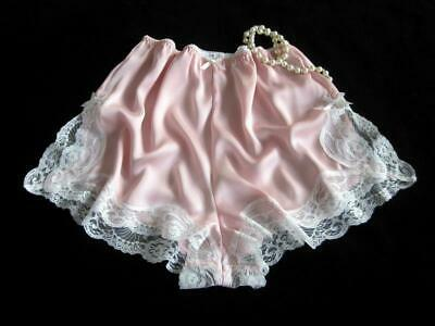 French Knickers Lacy Pink Satin XL NEW Soft Silky Drapey Panties Vintage Style