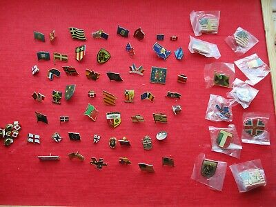 COUNTRYS WORLD FLAGS CRESTS MODERN & VINTAGE COLLECTION JOB LOT PIN BADGES 99p
