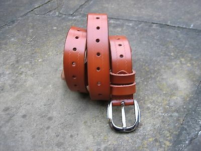 M/L - New Medium Width Brown Leather Belt womens with shiny buckle
