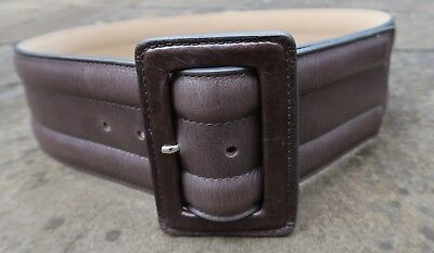 XS/S - Italian Midas Wide Dark Grey Leather Belt womens with large buckle