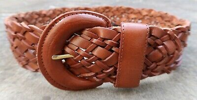 XS - Wide Woven Brown Leather Belt womens with leather covered buckle