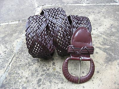 L - New Wide Woven Dark Brown Leather Belt womens matching D buckle