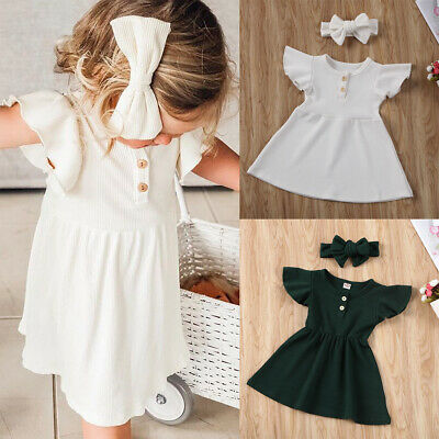 Toddler Kids Baby Girls Clothes Solid Ruffle Dress+Headband Infant Outfits Set