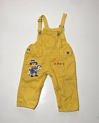 vtg Jads raggedy Ann and Andy Boys Overalls 1980s 24 Months Yellow
