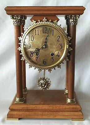 Warmink Clock Pillar Portico Dutch Vintage 8 Day Key Wind Sun Burst Pendulum