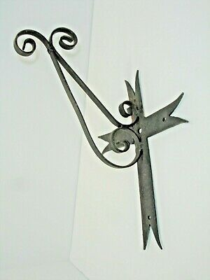 Vintage Metal Wall Hook, Hand Forged, Gothic,  Cross, Architectural Salvage