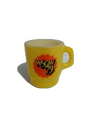 Vintage Anchor Hocking WSGW 79 Radio Yellow Coffee Cup Advertising