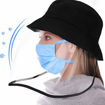 Unisex Outdoor Safety Full Cover Face Shield Fisherman Cap Transparent Hat 1PC