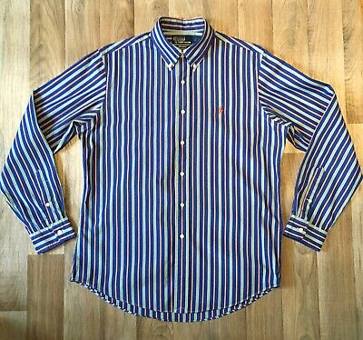 Polo By Ralph Lauren Custom Fit Shirt Large Blue Multi Stripe Worn Once