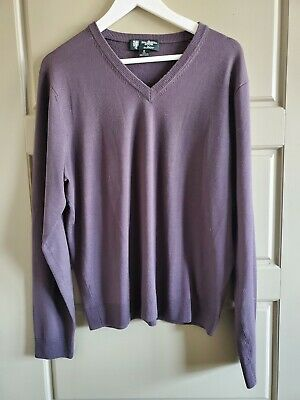 BROOKS BROTHERS Mens Sweater Gray V-Neck Saxxon WOOL Long Sleeve Size Med SOFT!