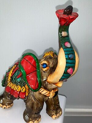 Beautiful Hand Carved Wooden Elephant Statue For Good Luck *with Stones*