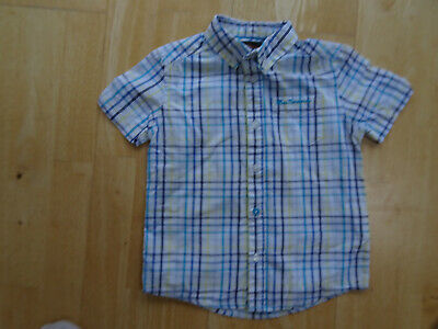 BEN SHERMAN boys white multi check short sleeve shirt AGE 4 - 5 YEARS excellent