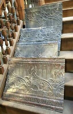 4 Ceiling Tin Panels, Vintage Reclaimed Molding Pieces, Architectural Salvage b,