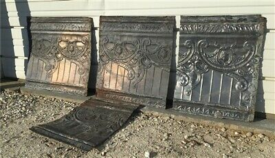 4 Ceiling Tin Panels, Vintage Reclaimed Molding Pieces, Architectural Salvage c