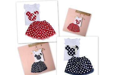 Kids Baby Girl Minnie Mouse Casual Party Toddler Clothes Sets Dot Tutu Skirt