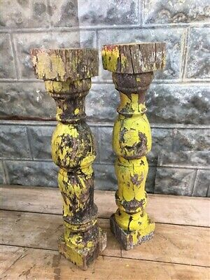 Yellow Antique Chunky Balusters, Vintage Wood Spindles Architectural Salvage b,
