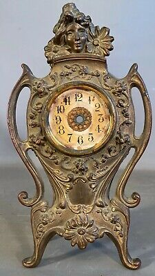Antique FRENCH Style ART NOUVEAU Era BRONZED LADY BUST & FLOWER Old MANTEL CLOCK