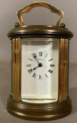Vintage TIFFANY & CO Old FRENCH BRASS & GLASS Petite ANTIQUE Type CARRIAGE CLOCK