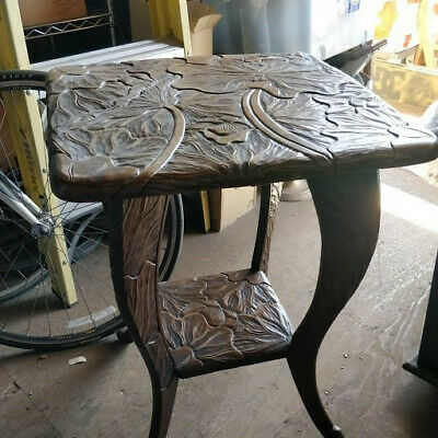 Elaborate wood square lotus table with finely hand carved lotus motif 1960-1980