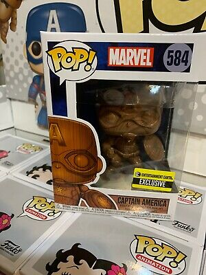 Funko Pop! Marvel 584 Captain America Wood Deco  EE Exclusive W/Pop Shield