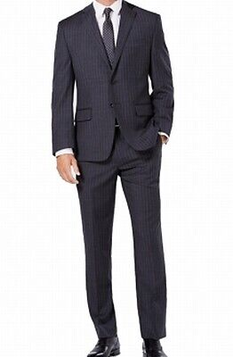 Michael Kors Mens Suit Gray Blue Size 42 Pinstriped Two Button Stretch $600 206