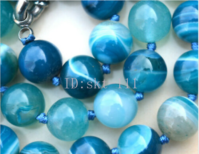 "18"" New10MM ANTIQUE ART DECO GENUINE RARE BLUE CHALCEDONY AGATE BEADS NECKLACE"