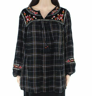 Style & Co. Womens Top Black 2X Plus Plaid Embroidered Floral Velvet $69 199