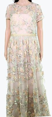 ML Monique Lhuillier Women's Dress Gold Size 10 Embroidered Mesh Gown $526- #804