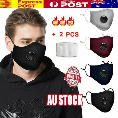 Anti Air Pollution Face Mask Respirator & 2 Filters P2 Washable Adjustable AU