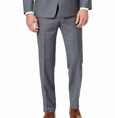 Michael Kors NEW Blue Mens Size 39 Plaid Two Button Wool Pants $300- #319