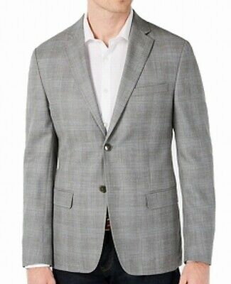 Calvin Klein Mens Coat Jacket Gray Size 42 Slim Plaid Sports Blazer Wool $165
