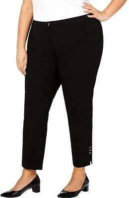 Calvin Klein Women Dress Pants Black Size 24W Plus Studded Split Stretch $99 224