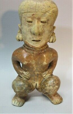 Fine Ancient PRE-COLUMBIAN CHINESCO Figure of a Squatting Female  WEST MEXICO