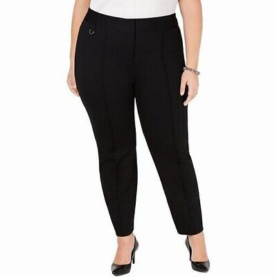 Alfani Women's Dress Pants Black Size 16W Plus Comfort-Waist Pintuck $79 #192