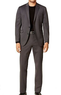 Reaction Kenneth Cole Mens Suit Gray Size 46 Notch-Collar Two Button $155 155