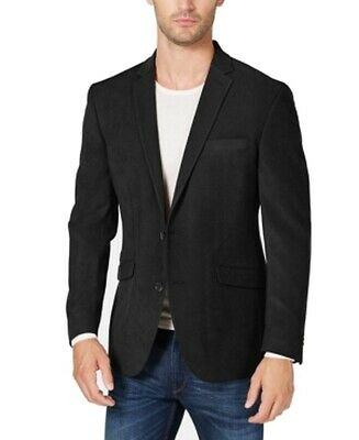 Kenneth Cole Mens Suit Jacket Black Size 40R Suede Notch Two Button $295 356