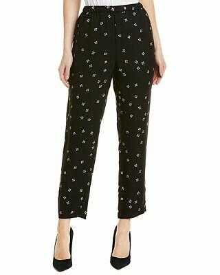 Vince Camuto Womens Pants Black Size XL Floral Print Pull-On Stretch $99 314