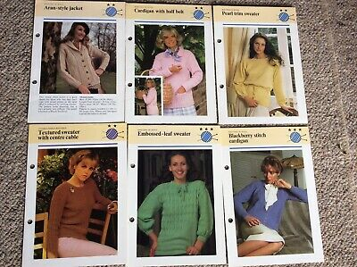 6 x Assorted Knitting Pattern Leaflets - Ladies' Jumpers & Jackets