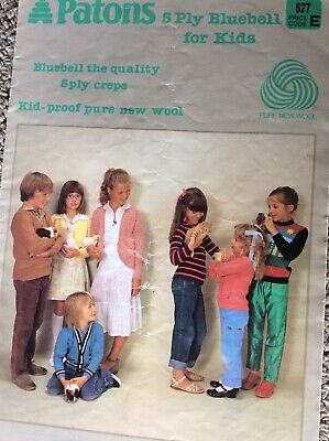 Vintage Patons Knitting Pattern Book 627 Patrons 5 Ply Bluebell for Kids