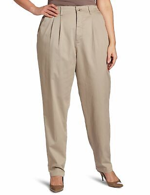 Lee Womens Khaki Pants Beige 18WP Plus Petite Pleated Relaxed Tapered $52 988