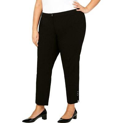 Calvin Klein Womens Dress Pants Black Size 22W Plus Hardware Stretch $99 342