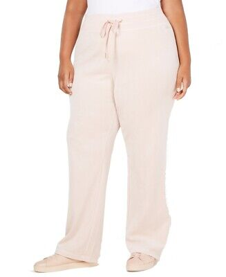 Calvin Klein Womens Sweatpants Blush Pink Size 0X Plus Wide-Leg Velour $79- 152