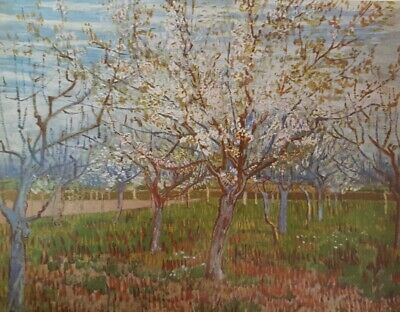 """Vintage 1952 full Color Art Plate """"The Orchard"""" by Van Gogh Lithograph Abrams"""