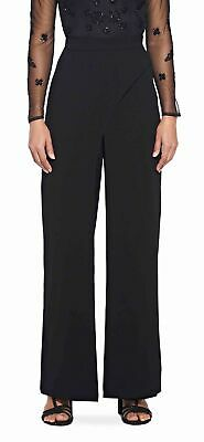 Adrianna Papell Womens Pants Black Size 12 Dress Crepe Wide Stretch $149- 149