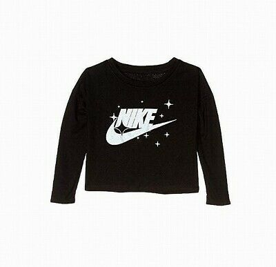 Nike Baby Girls T-Shirts Black Size 2T Shimmer Logo-Printed Long-Sleeve 157