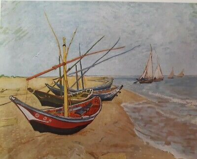 """VTG 1952 Color Litho Plate """"Fishing Boats on the Beach..."""" Van Gogh Abrams"""